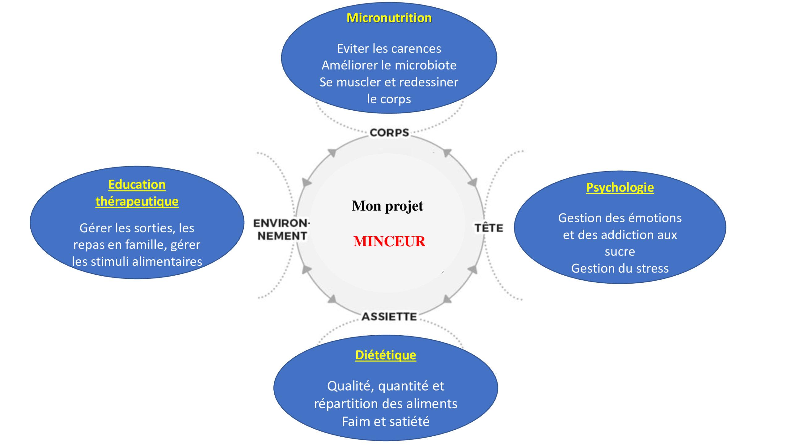 Mon projet minceur - La micronutrition, la psychologie, la diététique et l'éducation thérapeutique